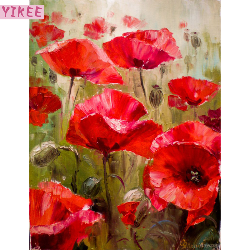 Modern Style Diy Oil Painting By Numbers Wall Art,painting By Numbers Red Poppy Flowers For Living Room Decor