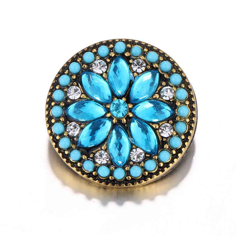 Azul Retro estilo Snap cuero Artificial Botón Ajuste 18mm broche joyería para mujer chica buena calidad y mejor regalo