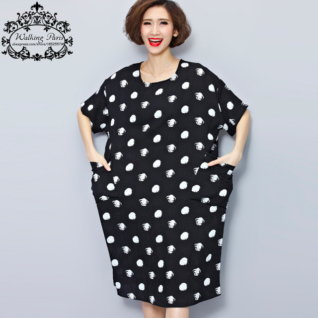 Big Size New Women Summer Dress White Polka Dot Fashion Dresses Casual T-shirt  Dress Linen Clothes With Pocket Female Long Tops 0fcd3012a