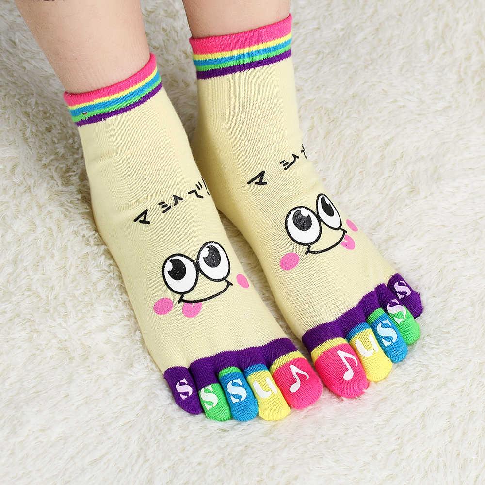 1 пара милых леди Для женщин девочек Повседневное красивое Улыбающееся пять тренер пальцев носок, высота до щиколотки, хлопковые мягкие носки для малыша Цвет в случайном порядке