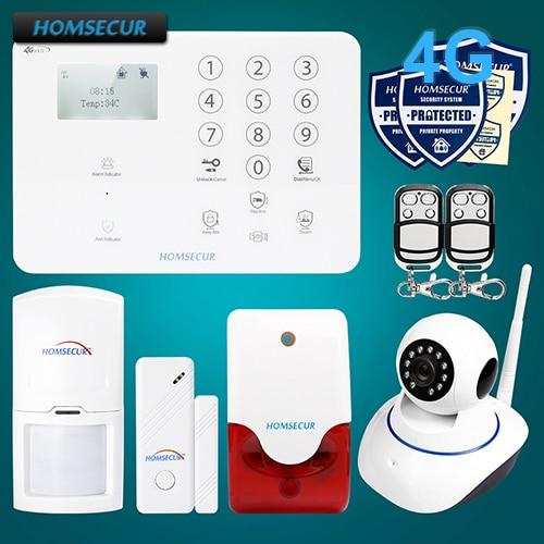HOMSECUR Wireless&wired 4G/GSM SMS Autodial LCD Burglar Alarm System+IP Camera GA01-4G-W 2 4g wired