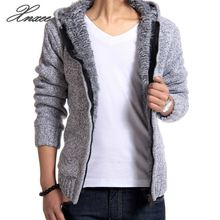 Warm Knitwear Jacket Fashion Man Knitting Mens Sweaters Cardigan Outwear Winter Thick Hooded
