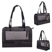 Portable Small Pet Carrier Sling Bag Black Leather Stitch Mesh Puppy Carriers Breathable Dog Shoulder Carry Bags