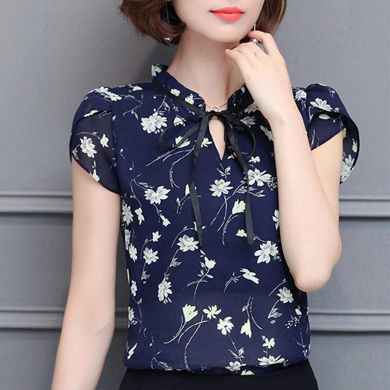 bc89bc74ddf Novo 2018 Floral Chiffon Blusas Mulheres Tops de Verão E Camisas Arco Doce  Blusa Bluas Femininas Roupas de Manga Curta Feminina