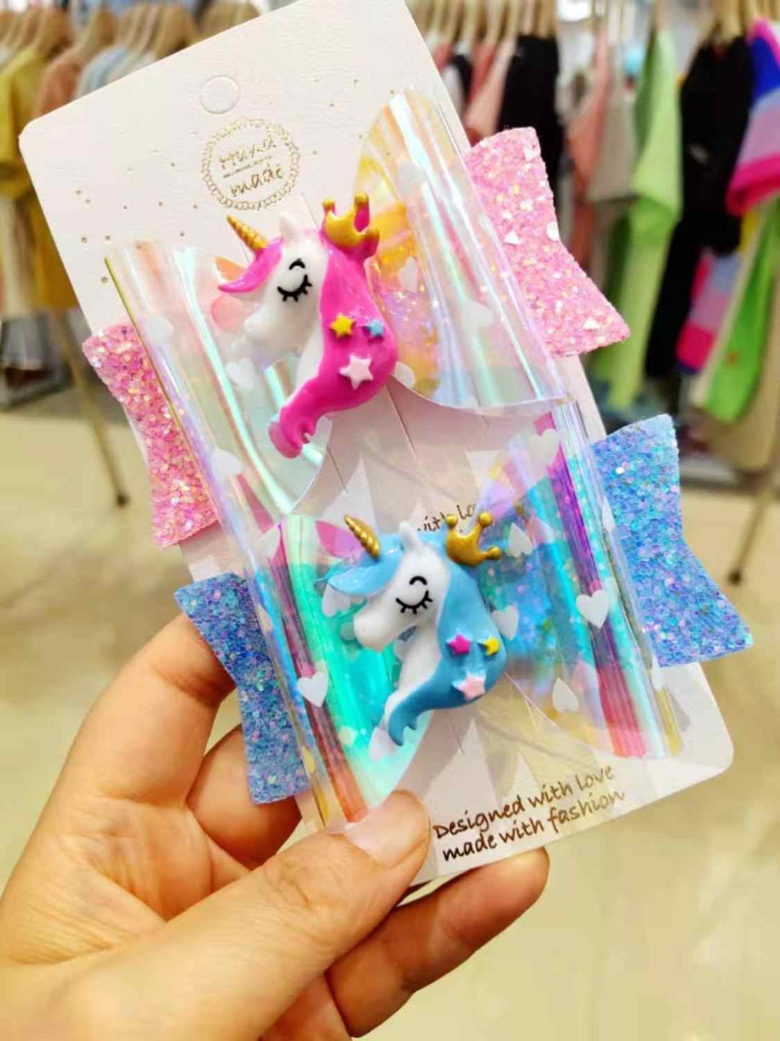 Thumbelina Unicorn Bows Hairgrip Glitter Hair Bows with Clip Dance Party Bow Hair Clip Girls Hairpins Hair Accessories
