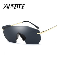 XINFEITE 2017 Novelty One Piece Lens Rimless Luxury Women Sunglasses Brand Fashion Frameless Men Sun Glasses