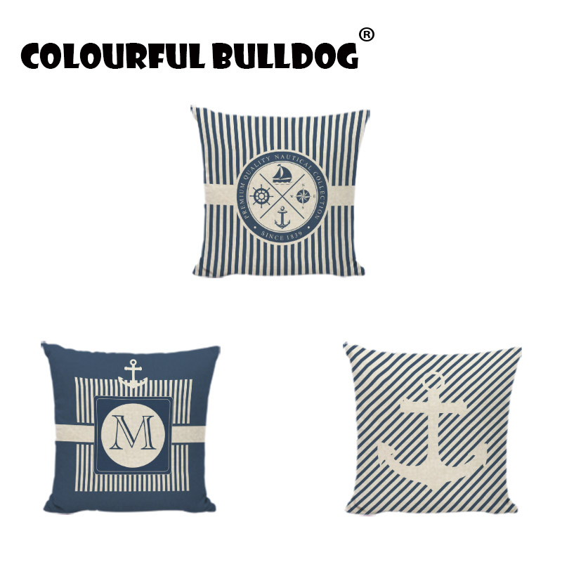 Ocean Series Cushions Covers Anchor Compass Home Decor Living Room Outdoor Headboard Settee Seat Gaming Chair Throw Pillow Cases
