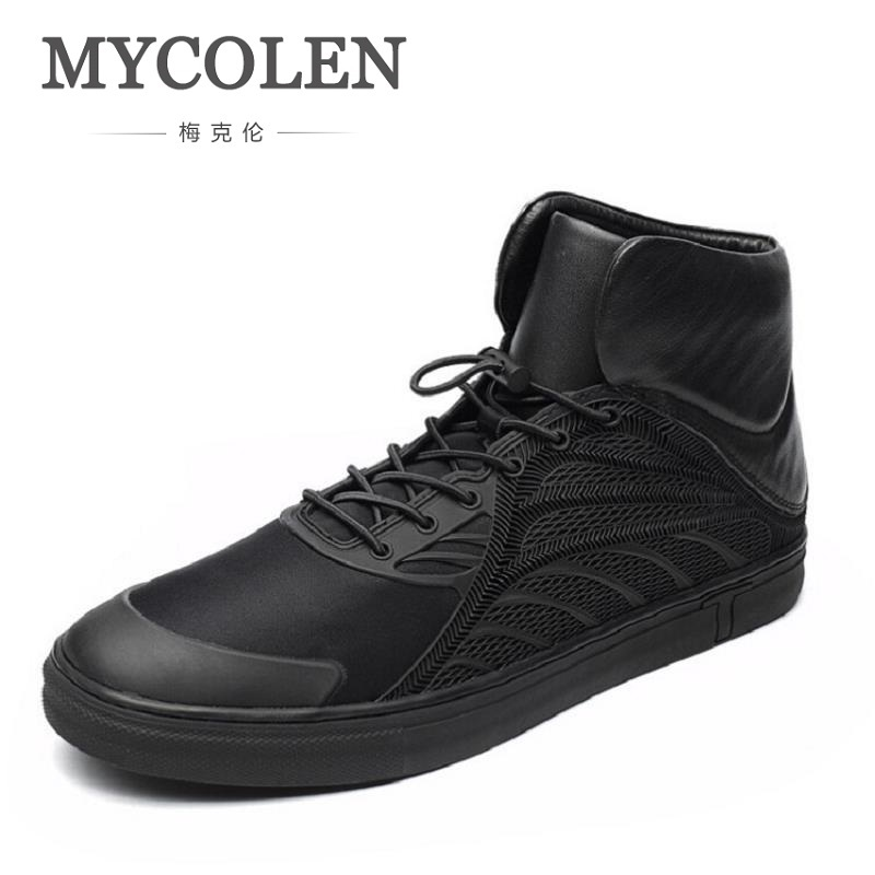 MYCOLEN Men Shoes Fashion Black Men Boots Round Toe Genuine Leather Riding Boots British Style Winter Outdoor Men Shoes Botas
