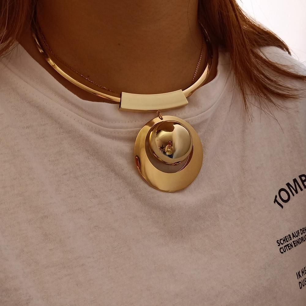 93310dfe2d15 VIVILADY Bohemia joyería de perlas de imitación de Color oro grandes cuentas  gargantilla