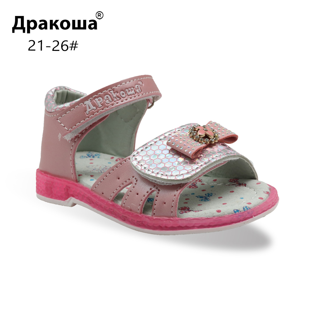 Apakowa Kids Summer Shoes Girls Sandals With Arch Support Princess Rhinestone Design Kids Sandal Girls Orthopedic Shoes New
