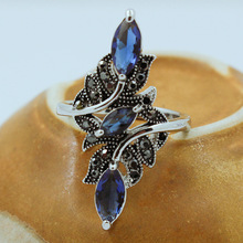 Charm Women Antique Silver Color Hollow-out Crystal Big Ring With Blue Rhinestone Branch Rings Wedding Party Jewelry Best Gifts hollow out rhinestone ring