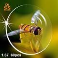 60 unids/lote 1.67 CR39 Índice Contra La Fatiga Lentes de Resina Dura Asférica Óptica Receta de Lentes de La Miopía de Alta Calidad Al Por Mayor. PA605
