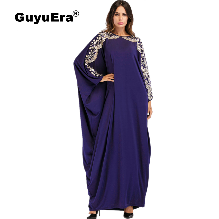 GuyuEra African Dress for Women Muslim Hui Dubai Sequins Bat Sleeve Robe Large Size Women s