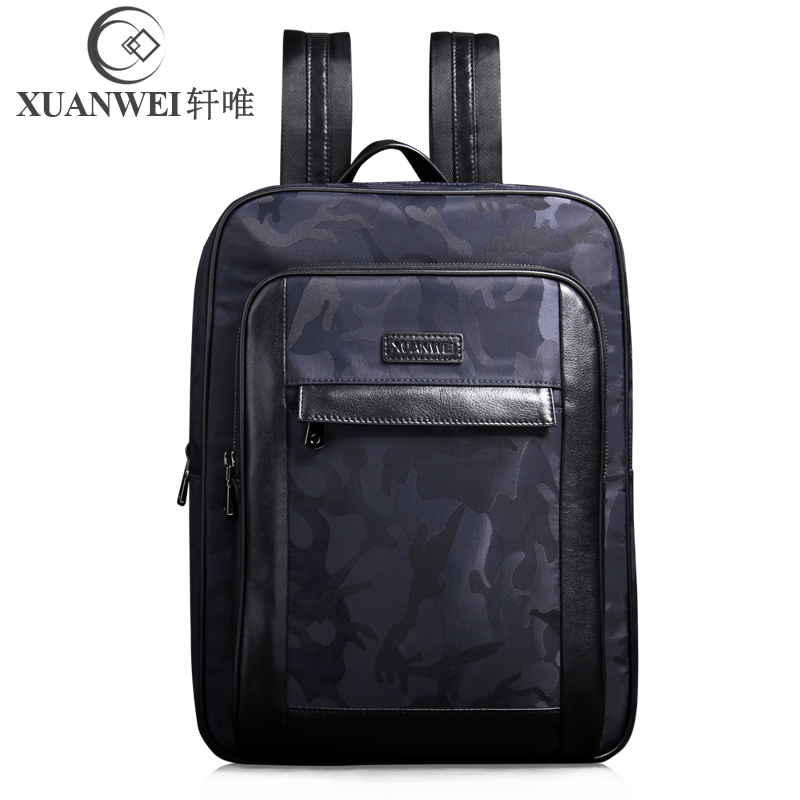 XuanWei Fashion Black Blue Camouflage Style Waterproof Nylon with Genuine Leather Big Capacity Male Backpacks (XW-89930) цена