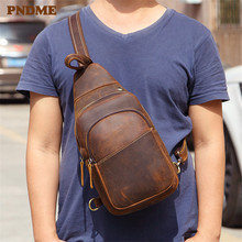 PNDME vintage simple crazy horse cowhide mens chest bag casual outdoor daily high quality genuine leather brown messenger bags