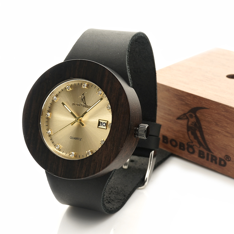 BOBO BIRD Watches Women Wooden Calendar Watch Genuine Leather Band Wristwatch with Paper Gift Box relogio feminino B-C03 bobo bird luxury designer watches men style wooden watch wood strap wristwatch with paper gift box relogio masculino brand top