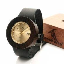 BOBO BIRD Watches Women Wooden Calendar Watch Genuine Leather Band Wristwatch with Paper Gift Box relogio feminino B-C03