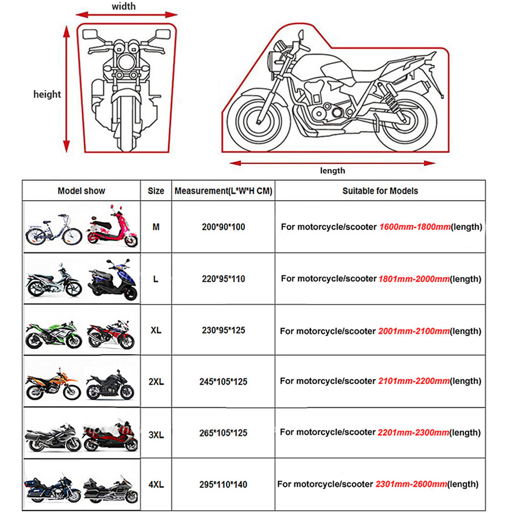 Motorcycle Cover Outdoor ATV Scooter Dustproof Waterproof Sun Motorbike Protective Car Cover Durable Rain Protector Coque