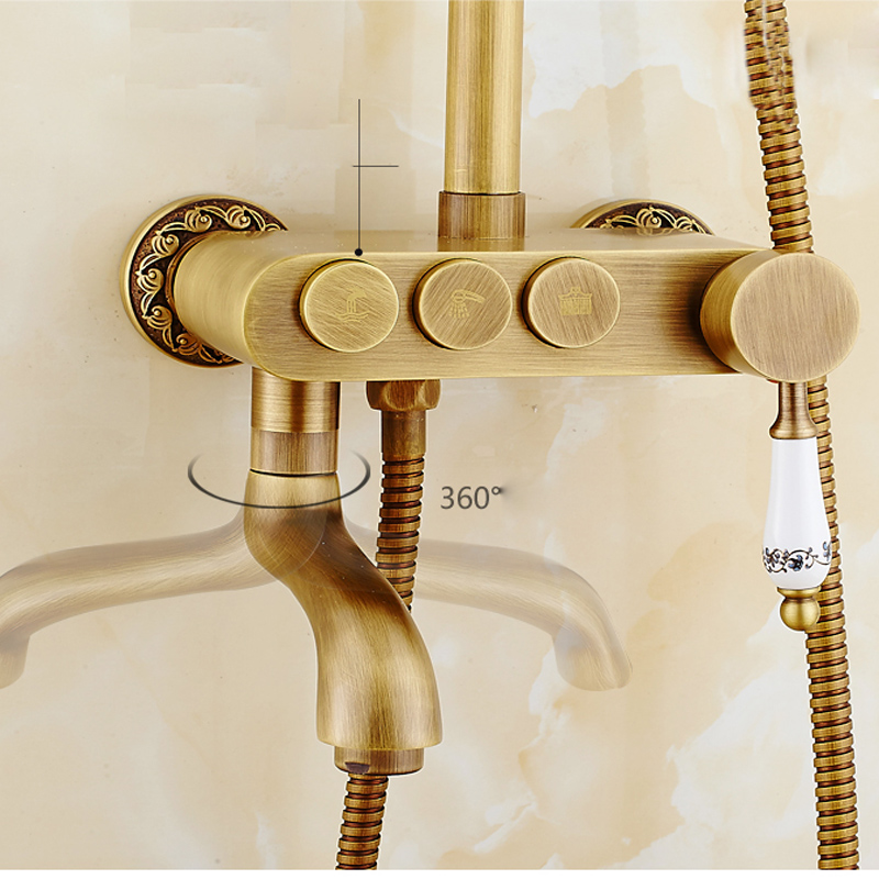 Shower Equipment Back To Search Resultshome Improvement 2016 New Design Brass Antique Shower Faucet Shower Panel Single Handle 3 Diverter Knobs Shower Mixer Taps Swivel Tub Filler