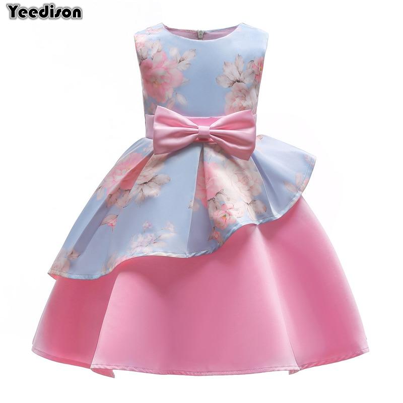 Princess Dress Girls Costumes 2018 New Flower Print Party Wedding Children Dresses Prom Bowknot Kids Dresses For Girls 10 Years