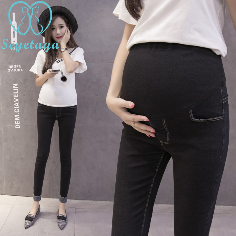 8526# 9/10 Length Autumn Fashion Maternity Jeans Rolled Up Skinny Pants Clothes for Pregnant Women Pregnancy Pencil Trousers autumn women fashion jeans high waist button denim jeans full length pencil pants feminino trousers