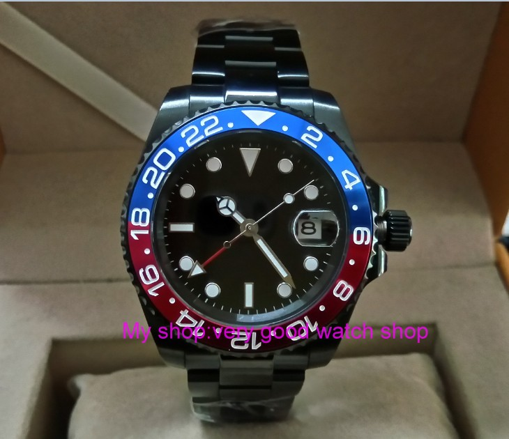 Sapphire crystal 40mm parnis PVD case Asian Automatic Self-Wind movement One-way rotating bezel GMT luminous men