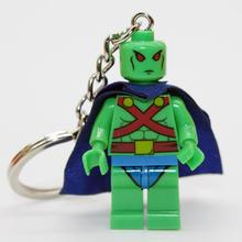 Martian Manhunte DIY Customize Minifigures Key Chain Key Ring Keychains Super Heroes SWAT Star Wars Building Blocks Bricks Toys