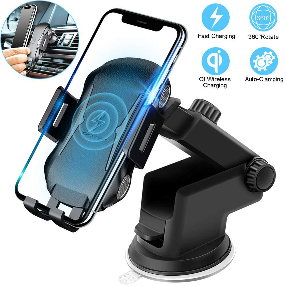 10W Qi Fast Charging Auto Clamp Wireless Car Charger For