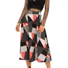 Fashion high waist A word skirt bohemian plaid printed beach skirt Moda de cintura alta una palabra falda#YL-25