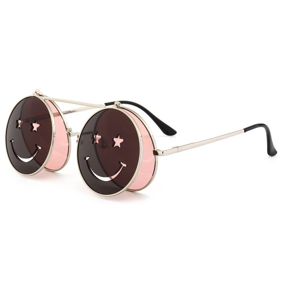 ba0714b23517f Peekaboo round flip up sunglasses for men vintage steampunk metal frame red  yellow clip on sun glasses for women 2018 uv400-in Sunglasses from Apparel  ...
