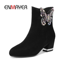 ENMAYER Women Ankle Boots Big Size 33-43 Causal High Heel Thick Heel Fashion Boots Round Toe Flock Shoes woman Rhinestone CR1359 2017 new fashion big size brand shoes apricot rivetl thick heel fur women pumps round toe horse hair office lady causal shoes