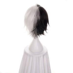 "Image 4 - Ccutoo 12 ""Half Zwart wit Korte Synthetisch Haar Hittebestendigheid Vezels Cosplay Pruik Bungo Zwerfhonden Kyuusaku Yumeno"