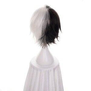 """Image 4 - Ccutoo 12 """"חצי שחור ולבן קצר פאת סיבים עמידות בחום קוספליי שיער סינטטי באנגו כלבים משוטטים Kyuusaku Yumeno"""