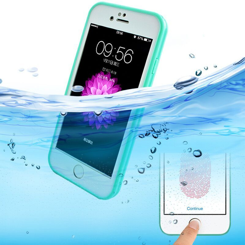 360 Grad voll versiegelte wasserdichte Tasche Abdeckung für Funda iPhone 5s SE 6 6s 7 8 PLUS Schwimm-Tauchkoffer Touch ID Fingerprint Design