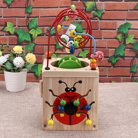 Multi Function Wooden Around Bead Maze Math Toy Letters Recognition Abacus Clock Learning Educational Toy For