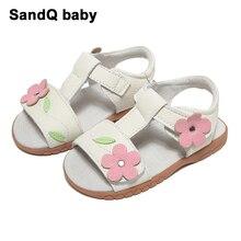 Сандалии для девочек; Новинка года; летняя детская обувь из натуральной кожи; сандалии принцессы с цветами для девочек; обувь для малышей; Sandale Fille