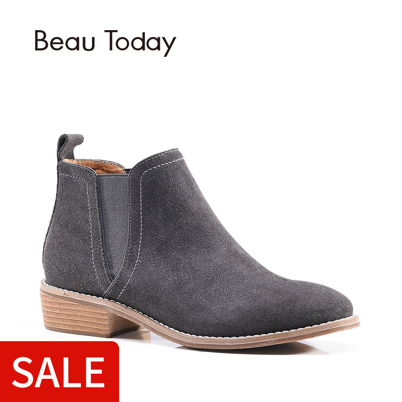 BeauToday Chelsea Boots Women Genuine Leather Cow Suede Ankle Round Toe Elastic Ladies Shoes Handmade 03008
