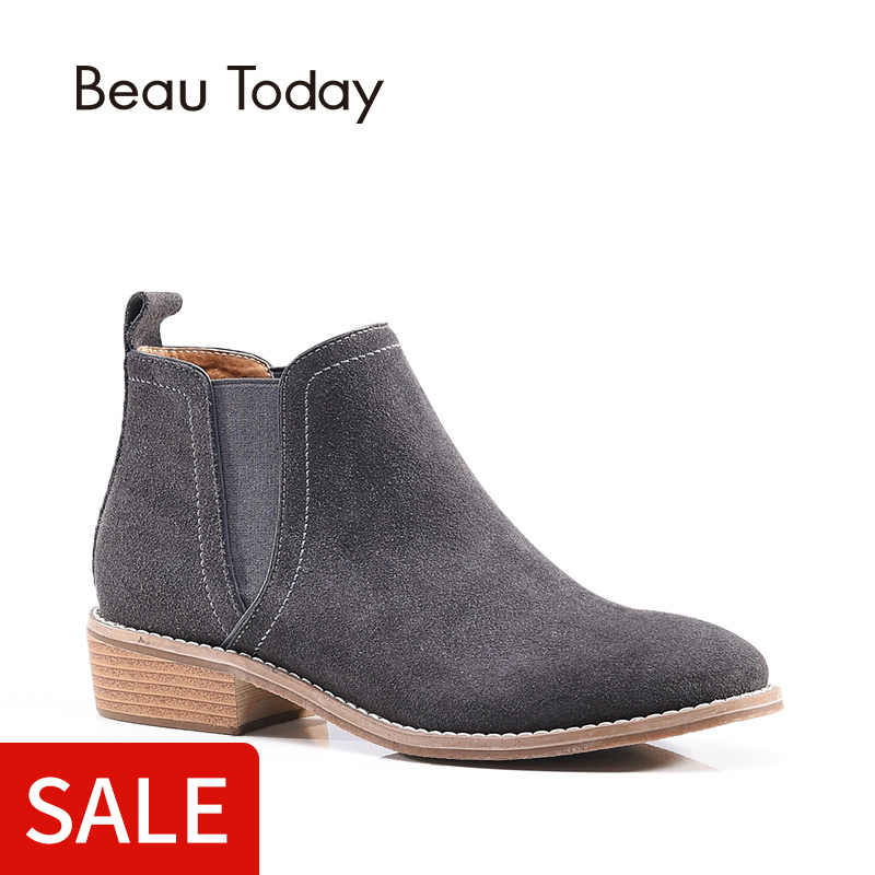 BeauToday Chelsea çizmeler kadın hakiki deri inek süet ayak bileği yuvarlak ayak elastik bayan ayakkabıları el yapımı 03008