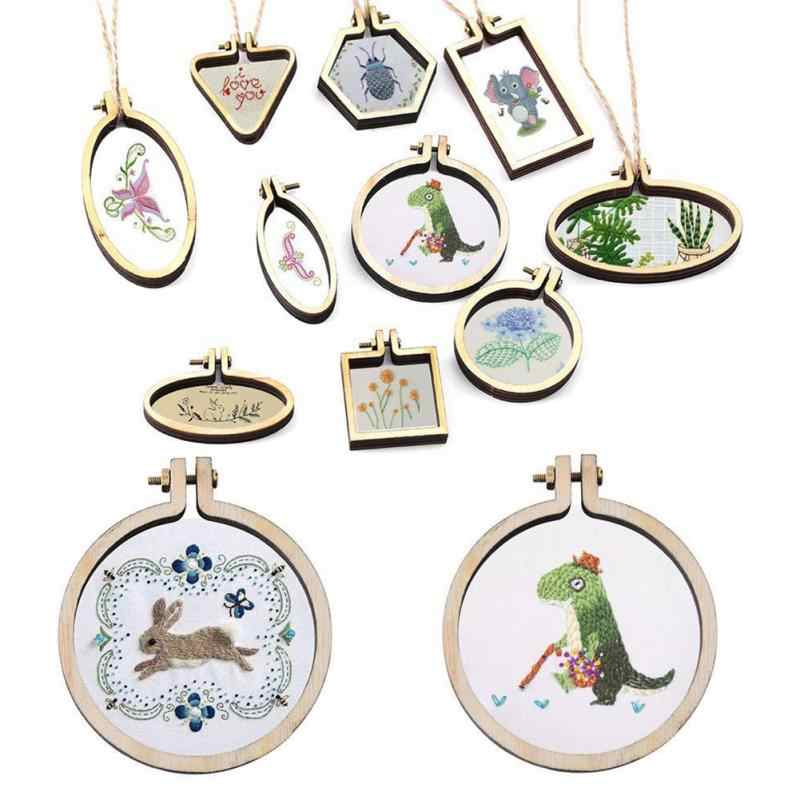 Mini Embroidery Hoop Wooden Embroidery Frame Small Hand Stitching Hoop Cross Framing Hoop Wood Earring DIY Gift