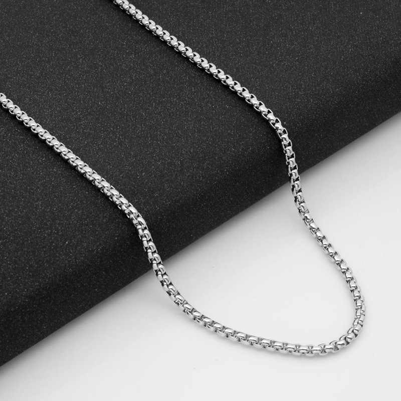 Srebrny łańcuch naszyjnik ze stali nierdzewnej dla mężczyzn proste 3.5MM naszyjnik łańcuch Punk Hiphop biżuteria długi naszyjnik naszyjnik akcesoria