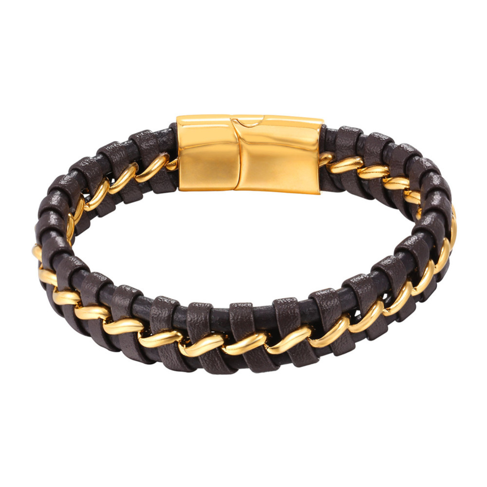100% Echtem Leder Armband Für Männer Mit Magnetschnalle Edelstahl Gold Farbe Wrap Armband Gifth9