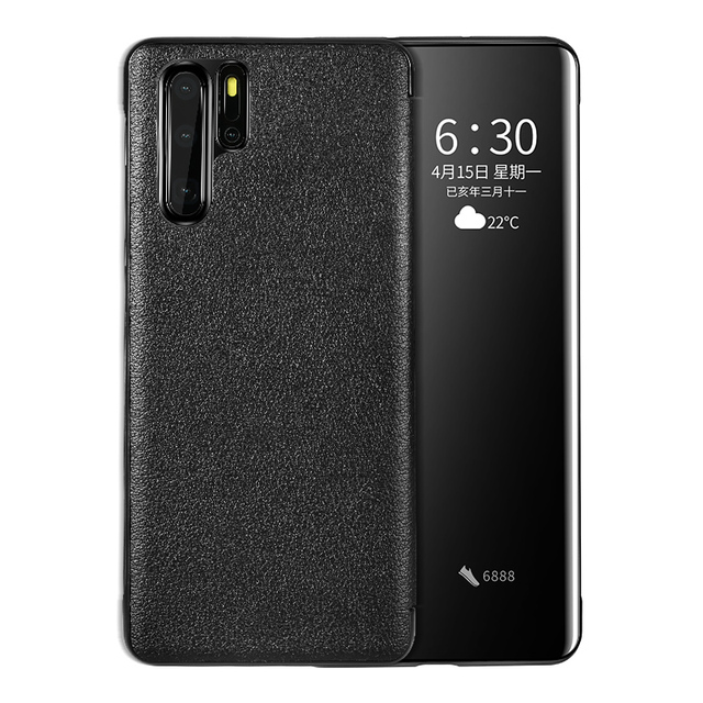 For Huawei P30 Pro GEnuine Leather Flip Case Cover Original Cenmaso  Smart Touch Clear View Protective Phone Case