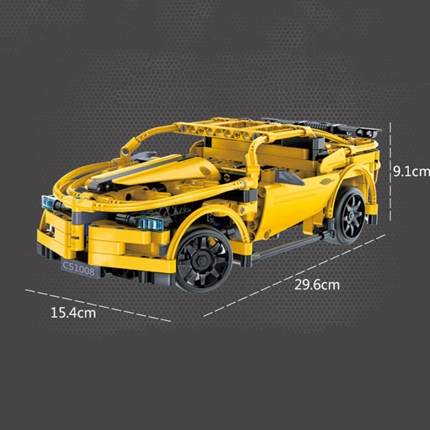 419 unids RC Building Blocks Car amarillo Camar Model Building Kit - Juguetes de construcción - foto 6