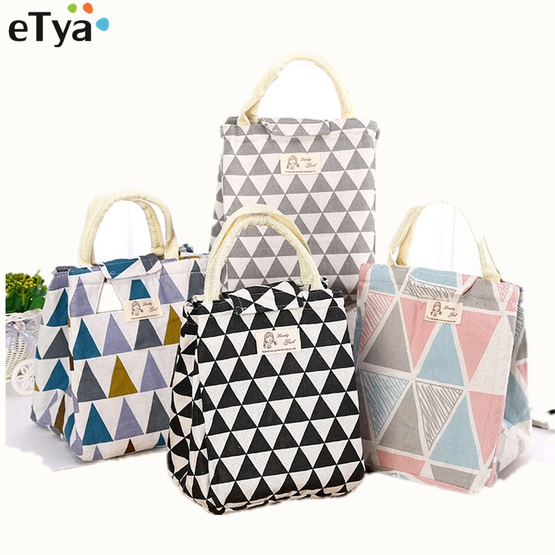 ETya Fresh Insulated Women Lunch Bag Thermal Fashion Portable Tote Cooler Lunch Bag For Female  Kids Food Picnic Organizer Bag