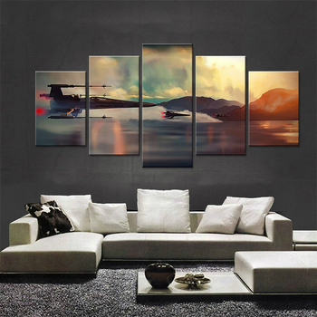 Popular Movie Poster Star Wars 5 panels Canvas Painting Wall Art for Living room wall HD Print Picture Modular Battlefield YK-61