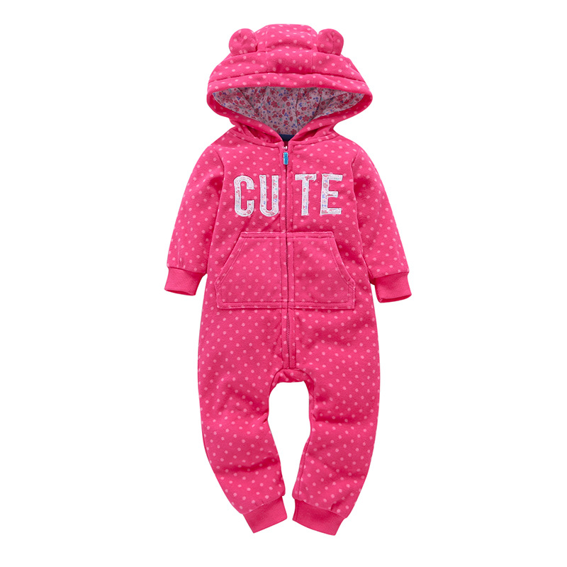 HTB1dCy7zRmWBuNkSndVq6AsApXaW 2018 New Bebes Clothes Newborn One Piece Fleece Hooded Jumpsuit Long Sleeved Spring Baby Girls Boys Body Suits Romper