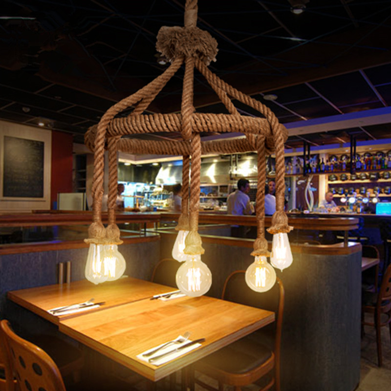 American country Retro Hemp rope chandelier Restaurant coffee shop bar creative industrial style Hemp rope chandelier vintage industrial american country black iron hemp rope led e27 pendant light for restaurat coffee bar dia 30 40cm 1656