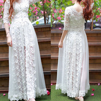 2019 Summer white Embroidery Lace Screen yarn Long V collar Forking Elbow sleeve Women beach style Dress
