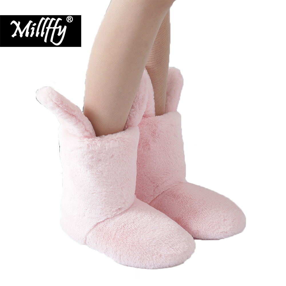 Millffy Winter cute PV velvet rabbit ears plush boots warm floor non-slip cotton furr bootie indoor home lady cotton shoes fralosha white star thick plush warm indoor boots floor shoes shoes non slip soft home shoes boots and the same bathrobe series