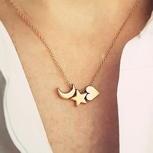 Fashion Women Crescent Moon Star Heart Necklace Gold Silver Simple Modern Cute Pendants Necklace Jewelry Gifts